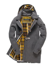 classic toggle coat with plaid lining / Superdry