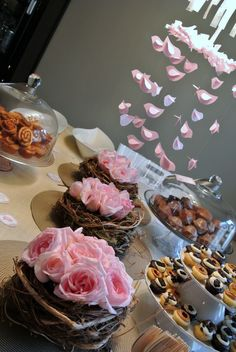 Absolutely adorable idea for a brunch baby shower: Little Bird Baby Girl theme, with mini breakfast treats, baby birds and Essie nail polish as the favor; this is cute