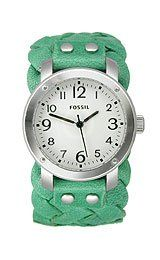 Fossil Woven Leather Cuff Women's watch