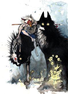 hayao miyazaki, studio ghibli, anim, studios, art, princess mononoke, princesses, mononok hime, illustr