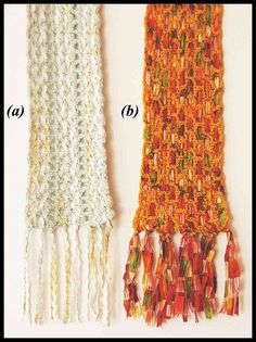 Woven ribbon crochet scarf