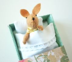 felt bunny in matchbox bed