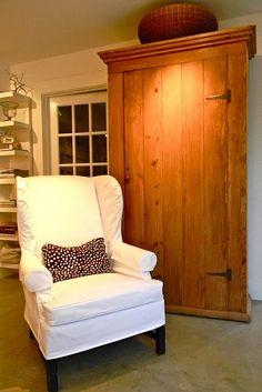 white denim slipcovered wing chair