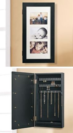 """For The wife....Wall unit doubles as jewelry cabinet and art """"gallery!"""" Slip in your favorite photos or artwork on the door...organize jewelry inside. Includes three mats that accept different-size photos or prints so you can create ever-changing """"exhibits!"""""""