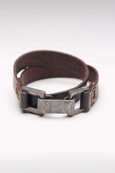 Double Wrap Leather Buckle Clasp Bracelet. Simple and perfect