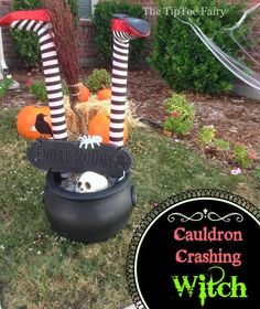 Halloween Outdoor Decorations: It's a Witch Crashing! - The TipToe Fairy