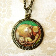 Elephant Mother and Child Postage Stamp Pendant by Smoochys, $13.00