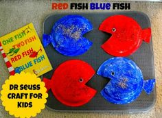 Dr Seuss Crafts for Kids, Red Fish Blue Fish Paper Plate Crafts