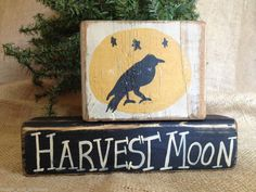 Primitive Crow Moon Harvest Moon Fall Seasonal Shelf Sitter Wood Blocks Set #HarvestMoon