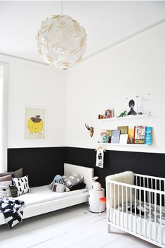 half black/half white walls