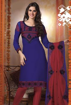Blue Full Sleeve Faux Georgette Knee Length Churidar Suit 19281
