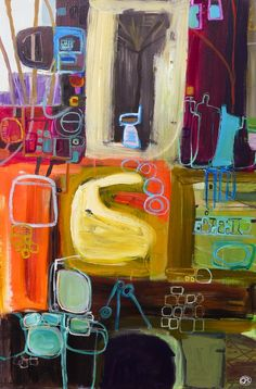 "Saatchi Online Artist: Oliver bloom; Acrylic, 2012, Painting ""Innards""  Love his paintings."