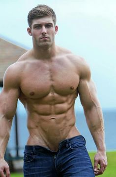 Hot hunk with trousers not done up