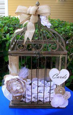 Birdcage Wedding Card Holder - Burlap & Lace