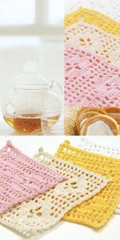 filet crochet coasters - free diagram pattern