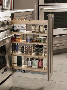 Making the most of a slim space, #Diamond's Base Pantry Pullout is perfect for #storage of spices, oils, and other #kitchen necessities.