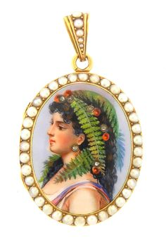 Victorian Portrait Locket with Pearls