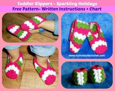 Pretty crochet slippers for your toddler. A free pattern - written instructions and crochet chart.