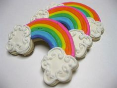 sugar cooki, parti busi, cooki decor, rainbows, rainbow parti
