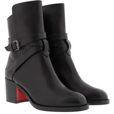 Christian Louboutin Boots & Booties - Karistrap 70 Calf Boot Black -... found on Polyvore featuring shoes, boots, ankle booties, ankle boots, black, black bootie, black ankle booties, slip on boots and short boots