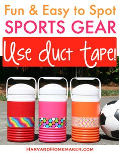 Use fun duct tape for a quick and simple way to mark sports gear! Click through to find stay-put personalized labels that can even go through the dishwasher to help set your stuff apart even more! #ducttape #parentingtip #labels #harvardhomemaker