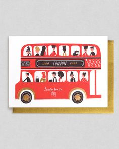 Greeting card by Debbie Powell - certainly influenced by screen printing. I super retro feel London bus
