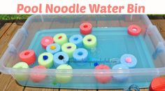 Pool Noodle Water Bin for the kids. Kool aid scented and colored water for extra fun. Great summer activity for the kids.