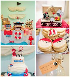 Pirate themed birthday party with Lots of REALLY CUTE IDEAS via Kara's Party Ideas | Cake, decor, recipes, favors, printables, games, and MO...