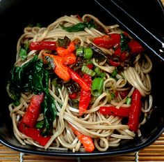 Light Soba Noodle Sauteed Veggie Salad - Vegan