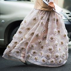 Stunning detail shot from the streets before Giambattista Valli at #PFW.