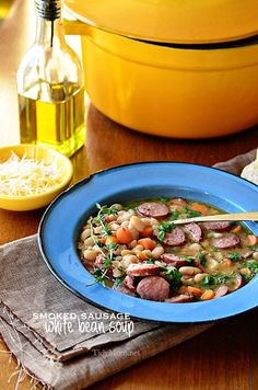 Easy Smoked Sausage and White Bean Soup recipe at TidyMom.net