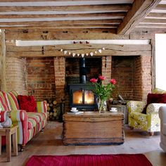 interior, cottag, exposed beams, fireplac, bricks, exposed brick, live room, country living rooms, country homes