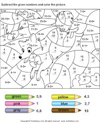 Color by number math worksheets kindergarten