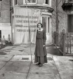 """Congressional Union for Woman Suffrage, 1916."" One of the banners used in a memorial service for Inez Milholland, the lawyer who became a martyr to the suffrage movement following her death from anemia while campaigning for the 19th Amendment. Harris & Ewing Collection glass negative."