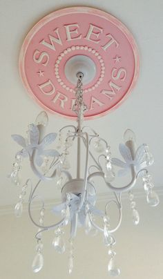 DIY Sweet Dreams Ceiling Medallion by Marie Ricci. Prime and paint yourself $34.99. Coming Soon!!! White Chandelier available for $198 and $225 for custom painted chandelier.