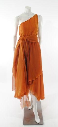 DECADES INC.: Halston iridescent crinkle silk chiffon asymetric dress