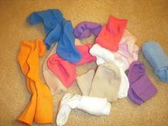 Functional Skill.  Match color of socks (baby socks) and put together