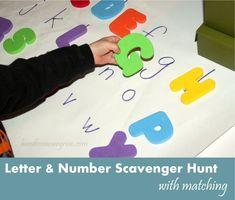 Letter & Number Scavenger Hunt with Matching