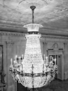 Crystal Chandelier Black and White Print Digital by LEXIBAGS
