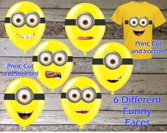 INSTANT DOWNLOAD Despicable Me Minion Googles and Mouths Printable Birthday Party Sticker for Balloons Decorations & Iron On Transfer Tshirt