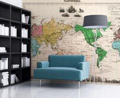 Vintage World Map Wallpaper from Bouf by robynselston