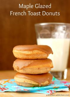Maple Glazed Cinnamon French Toast Donuts from www.a-kitchen-addiction.com