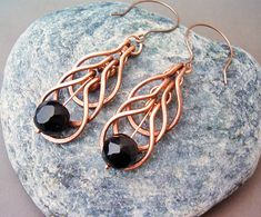 Wire Wrapped Earrings Copper and Black Agate Gemstone - Handmade Copper Earrings - wire wrapped Earrings handmade