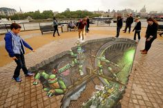 Ninja Turtle street art by British artists 3D Joe and Max