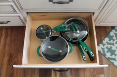 Our Diamond Cabinet's deep drawer #cabinet base is a perfect #storage and #organization solution for bulky pots and pans.