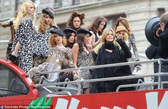 Wild cats: Heidi was joined by a group of ladies in leopard print