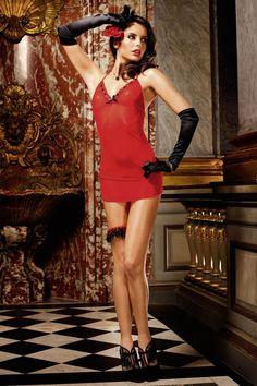Saint Valentin en nuisette rouge passion. micro dot, mesh dress, dresses, dot print, halter dress, dress styles, dots, dot lace, red dress