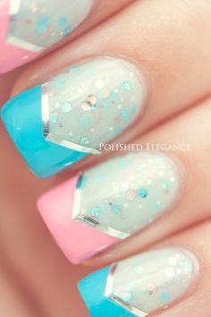 deborah lippmann, air nail, polish pink, nail polish, blue chevron