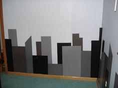 Cityscape wall mural - my son's superhero room