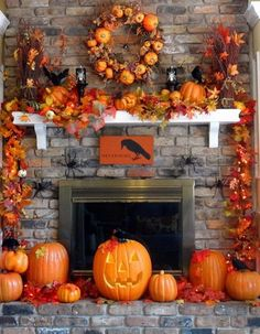 how to decorate a red brick fireplace for holloween | Halloween Fireplace Mantel Decorating Ideas - Mantel Decorate Idea ...